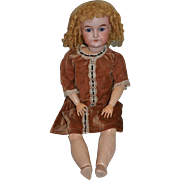 "Antique Doll Bisque Sweet W/ French Mohair Wig Carl Hartman 25"" Tall"