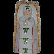 Antique Doll In Cradle Pitcher Porcelain Unusual Figurine WONDERFUL