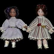 Vintage Doll Artist TINY miniature Dollhouse Dolls.. White Doll Black Doll SWEET!
