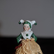 Old Doll Miniature Half Doll Pin Cushion Measuring Tape Adorable