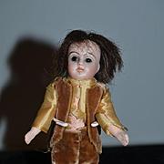 Antique Doll Miniature Dollhouse Bisque Head Glass Eyes Boy Doll CUTE!