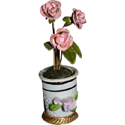 Vintage Doll Miniature Flower Pot Enamel Flowers in Porcelain Vase or urn for Dollhouse