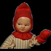 Old Doll Cloth Doll Character Boy W/ Original Tag Rannaug Pettersen
