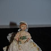 Old Doll Cloth Doll Rag Doll Miniature Wedding Lady Bride Dollhouse