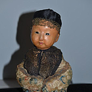 Antique Doll Glass Eye Oriental Doll Sitting  Child Wax over Papier Mache Paper Original Clothing Pierced Nostrils