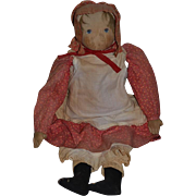 "Old Doll Cloth Doll Rag Doll Babyland Rag Doll W/ Provenance Early Doll Dressed 30"" Tall"