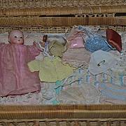 Antique Doll Dream Baby Miniature Bisque W/ Basket Trousseau W/ Clothes