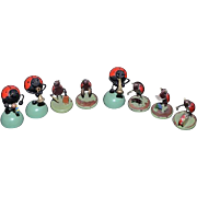 Old Wonderful Miniature Doll Lady Bug Orchestra Playing Musical Instruments Dollhouse Wood
