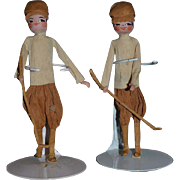 Old Doll Set  Two Paper Dolls Tissue Paper Doll Golfers Unusual