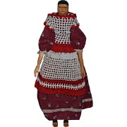 "Vintage Doll Carved Wood Folk Art Lady Large Doll Dressed Signed 16"" Tall"