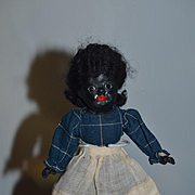 Old Doll Black Painted Bisque Glass Eyes Composition Body FAB Stockings Folk Art Miniature Dollhouse