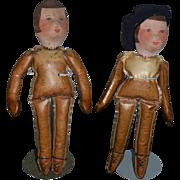 Old Doll Pair Cloth Doll Rag Doll cloth Unusual Body TWO Dolls