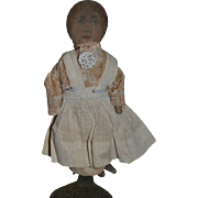 Old Doll Miniature Printed Cloth Rag Doll Dressed