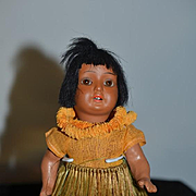 Antique Doll Bisque Cabinet Size Island Girl W/ Grass Skirt Hanna