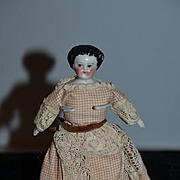 Old Doll Miniature Dollhouse Flat Top Brown Eyes