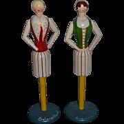 Vintage Doll Set Wood Mannequin Sweden Signed Artist Jointed Napkin Holders