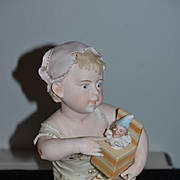 Wonderful Doll Large Piano Baby W/ Jack in the Box Punch Jester Intaglio Eyes Figurine