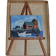Vintage Doll Miniature Dollhouse Priscilla Holman Lowry TWO Oil Paintings W/ Easel