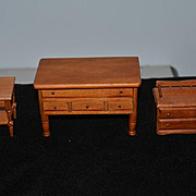 Old Doll Miniature Dollhouse Wood Furniture Signed Trunk Chest Table Nice