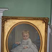 Antique Painting Child Portrait WONDERFUL LARGE Gilt Frame Ornate 1800's