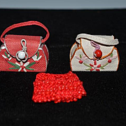 Vintage Doll Miniature Purse Set Beaded Beaded and Fancy