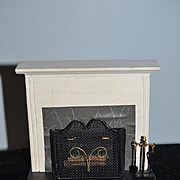 Vintage Doll Miniature Fireplace W/ Wood/ Gate and Accessories Dollhouse German Chestnut Hills