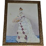 Antique Miniature Painting Bride W/ Fan Bronze Frame Fancy For Doll Room