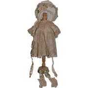 Wonderful Doll Dress Bonnet Shoes and Stockings For Bisque Doll Fancy W/ Old Lace Complete Set
