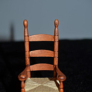 Wonderful Doll Dollhouse Miniature Wood Rocking Chair Miniature Artist George Hoffman IGMA