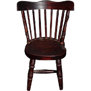 Wonderful Doll Old Windsor Back Wood Chair Miniature Dollhouse