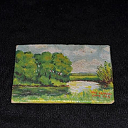 Old Doll Signed Miniature Dollhouse Oil Painting Cape Cod Hyannis Mass. 1957 Signed MAClennan