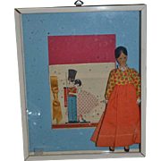 Vintage Doll Wood Pegged Carved Jointed One of A Kind Workshop Framed W/ Picture