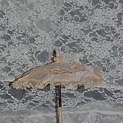 Wonderful Doll Size Silk and Lace Parasol Umbrella Ornate