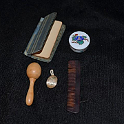 Old Miniature Doll Lot French Fashion Size Enamel Box Book Comb Darning Egg Wood Puff