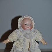 Antique Doll Bisque Baby Doll Glass Eyes Solid Dome