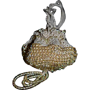 Old Doll Miniature Beaded Purse Crochet
