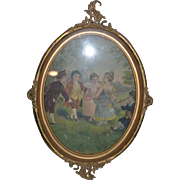 Old Fancy Frame W/ Children Playing On Fabric For Doll Room Metal Frame