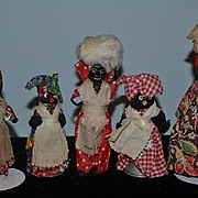 Old Doll Set Five Black Dolls Wood Doll Cloth Doll Unusual Set Mixture