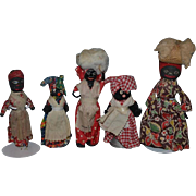Old Doll Set Five Black Dolls Wood Doll Cloth Doll Unusual Set Mixture