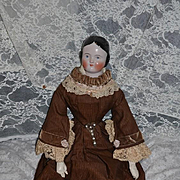 Antique Doll China Head Pink Tint Covered Wagon Large Doll Great outfit and Purse