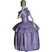 Old Miniature China Head Vanity Box Half Doll German Powder Jar