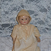 Antique Doll Oil Cloth Martha Chase SWEET Size!! Christening Gown