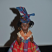 Old Bisque Doll SFBJ French Black Doll Cabinet Size Sweet