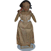 Old Cloth Doll Rag Doll Drawn Features Unusual Original Clothes