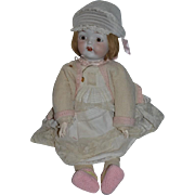 """Old Doll Bisque Unusual Character Dressed TOO Cute! 25"""" Tall"""