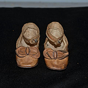 Old Leather Shoes with Double Bows for your Doll