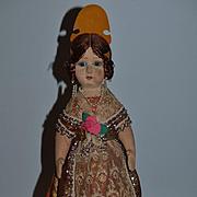 Wonderful Old Cloth Doll Glass Eyes Original Costume