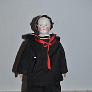 Antique Doll China Head Fancy Side Part Sailor Boy Smiling Kestner