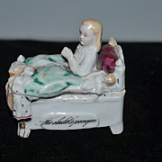 Old Fairing Box Child Doll Vanity Box The Child's Prayer Wonderful W/ Doll in Bed Staffordshire Figurine