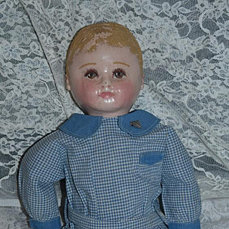 Wonderful Old Oil Cloth Doll Martha Chase Cabinet Size ADORABLE